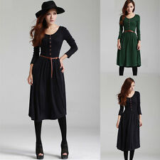 Women Long Sleeve Winter Spring Shirt Bodycon Tunic Free Faux Leather Belt Dress