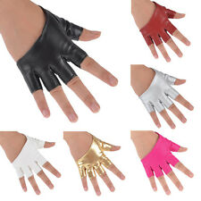 Fashion Womens Half Finger PU Leather Gloves Ladys Fingerless Show Gloves