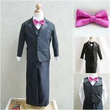 Black boy formal suit with fuchsia pink bow tie ring bearer party graduation
