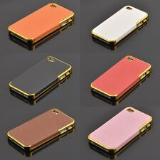 NewLuxury Frame Cover For Iphone4/4s/5/5s Chrome PU Leather Hard Back Phone Case