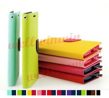 Deluxe Dual Color Flip Wallet Stand PU Leather Cover Case For Samsung Sony LG