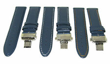 18-19-20-22-24MM LEATHER WATCH BAND STRAP DEPLOYMNET CLASP FOR BREITLING BLUE #2