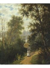 JOSEPH RUSLING MEEKER Morning Walk woman new CANVAS! various SIZES available