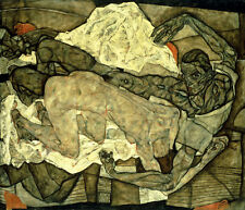 EGON SCHIELE Lovers (Man and Woman I) NUDE breast buttock lying bed NEW PRINT!
