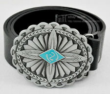 Fashion Engrave Leaves Pattern Pewter Metal Buckle Real Leather Belt Lady Womens