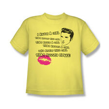 Elvis Presley Kissed T-Shirt Youth Boy Girl Yellow S M L XL