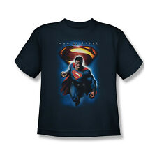 Superman Man Of Steel And Symbol T-Shirt Youth Boy Girl Navy Blue S M L XL
