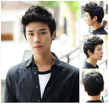 Men Cool Handsome Sunshine Boys' Short Layers Natural Hair Cosplay Wigs+Caps
