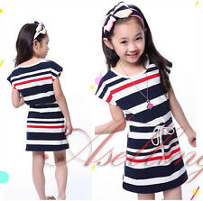 Kid Girls Cotton Soft Striped Princess Dress Sports Casual Loose Dresses on sale