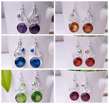 fashion 1 Pair Gemstones Noble S80 Silver Earring 6-color can choose