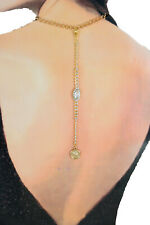 New Women Gold Metal Body Chain Jewelry Long Fashion Necklace Blue / Red Beads