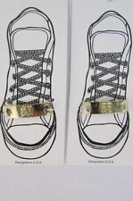New Gold Metal Fashion Shoe Lace Sneakers Plates Charms 23 / NY / CROWN / WINGS