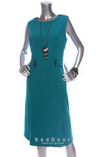 NEW CALVIN KLEIN Women Cap Sleeve Both Studded Sheath Dress Teal Sz 14W