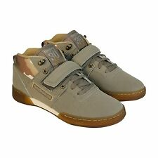 Reebok Mens Workout Mid Strap TOD Beige  Suede Velcro Strap Sneakers Shoes