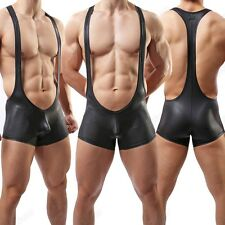 Brand Men's Leather Like Freestyle Overalls Jumpsuits Leotard Athletic Apparel