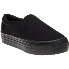 New Womens SOLE Black Sora Canvas Trainers Slip On