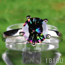 Fashion Wedding Rainbow Topaz Gemstones Silver Ring Size 6 7 8 9 10 Free Ship
