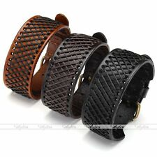 Unisex Men's Hemp Braided Genuine Leather Wristband Buckle Belt Cuff Bracelet