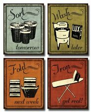 Set of 4 Canvas Laundry Pieces, Vintage Signs Art Print Poster By Harbick Framed