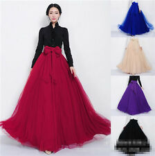 Vintage Bowknot Empire Waist FAIRY new Pleated Tiered Dress Long Maxi Skirt Gown