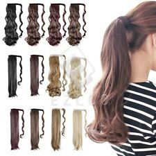 6 Colors Fashion Clip In Ponytail Pony Tail Hair Extension Wavy Straight Style