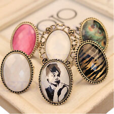 Hot Retro Style Big Rhinestone Ring Vintage Stone Fashion Girl New 6 Colors