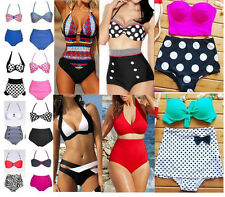 Polka Dot Vintage Retro High Waist Push Up Bandage Bikini Swimsuit Swimwear Set