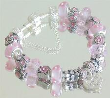 LADIES WOMENS CHARM BRACELET ICE  PINK  HEARTS MUM MUMMY MOM PRESENT GIFT BEAD