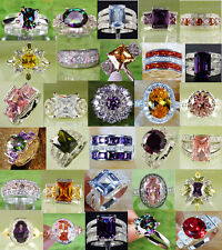 Hot Rainbow Topaz/Amethyst/Citrine/Morganite Mix Gemstone Silver Ring 6 7 8 9 10