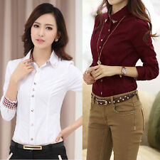 New Women Long Sleeve OL Shirt Turn-down Collar Button Blouse Tops 2 Colors