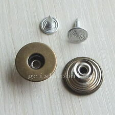 10 25 50 100 Look Inside Fine Jean Tack Snap Button Stud Rivet NO-SEW 17mm Hole