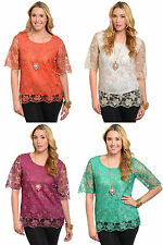 Lady Sexy Fashion Plus Size Floral Lace Short Sleeve Top Blouse Tunic Shirt