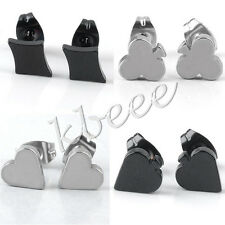 Pair Stainless Steel Poker Cards Ear Stud Mens Unisex Earring Punk Cool Gift