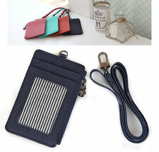 Necklace Leather wallet ID Holder Credit Card Slim wallets Mini purse with Strap