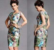 Retro Ethnic Women Floral Peacock Printed Packaged Long Evening Party Dress Slim