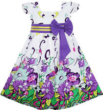 Girls Dress Bow Tie Purple Floral Sleeve Princess Boutique Party Kids 2-10 New