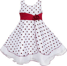 Girls Dress Wine Red Dot Tulle Party Pageant Unique Design Kids Clothing 4-12 Y