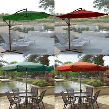 10' Cantilever Offset Patio Umbrella With Stands Garden Outdoor Sun Canopy
