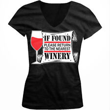 If Found Please Return To The Nearest Winery Funny Vino Juniors V-neck T-shirt