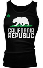Pot Leaf Grizzly Bear California Republic Cali Life Weed 420 Boy Beater Tank Top