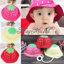 Summer Kid Baby Toddler Girl Strawberry Sweet Candy Dot Bucket Hat Sun Cap Y