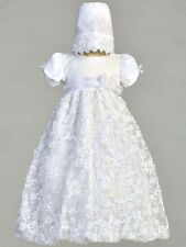 Girls White Christening Dress Baptism Gown Satin & Tulle w/ Ribbon 0-18M Amber