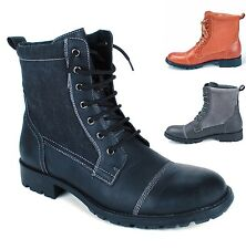 Mens Military Field Boot Combat Shoes Rugged Lug Sole Canvas & Faux Leather Trim