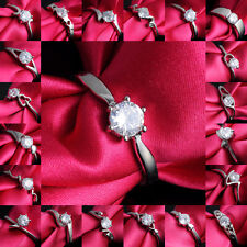 HOT SALE 18K White Gold Filled Ring Gift White Sapphire Wedding Jewelry Size 7,8