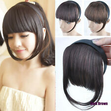 Fashion Women Girl's Headband Bang Neat Fringe Clip on/in Hair Extensions FP107