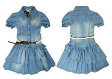 Short Sleeve Denim Jeans Layered Dress Casual Skirt For 2-8 Years Kid Baby Girls