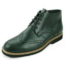 Mens Wing Tip Ankle Boots Dress Shoes Derby Lace up Oxfords Brogue Medallion Toe