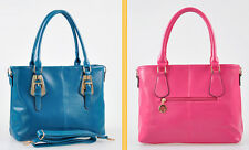 10 Colors Womens Faux Leather Shoulder Bags Buckle Decro Tote Shopping Bag Purse