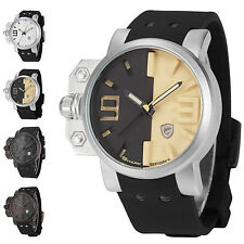 Salmon Shark Fashion Over-sized Crown Silicone Quartz Men Sport Army Wrist Watch