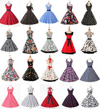 Vintage Womens Rockabilly Casual Pageant Banquet Prom Swing Dresses IN S M L XL